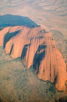 Aerial of Uluru, Northern Territory ** She looks like she's been dragged down a gravel road! Outback Australia, Coast Australia, Visit Australia, Western Australia, Australia Travel, Australia Beach, Iconic Australia, Queensland Australia, Places To Travel