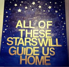 All of these Stars - Ed Sheeran #tfios #canvasart   Steps: Paint top part of canvas silver and the middle gold.  Spell out lyrics with stickers and use star stickers over the silver.  Paint with different shades of blue.  Remove stickers!