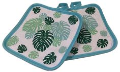 "Amazon.com: Custom & Durable {7"" x 7"" Inch} 2 Set Pack, Small Size ""Non-Slip"" Pot Holders Made of Cotton for Carrying Hot Dishes w/ Spring Caribbean Ferns Design Style [Blue, White, & Green]: Home & Kitchen"