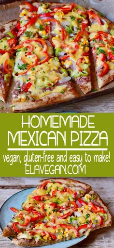A tasty Mexican Pizza recipe which is easy to make! This gluten-free vegetarian pizza is topped with refried beans, corn, peppers, jalapeño & vegan cheese. Homemade Mexican Pizza Recipe, Vegetarian Pizza Recipe, Healthy Pizza, Mexican Food Recipes, Whole Food Recipes, Cooking Recipes, Healthy Recipes, Healthy Beans, Pizza Sans Gluten