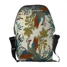 Shop Vintage Peacock Swirl Fine Art Messenger Bag created by samack. Custom Messenger Bags, Messenger Bag Men, Handbag Accessories, Fashion Accessories, Peacock Purse, Pack Your Bags, Beautiful Bags, School Bags, Luggage Bags