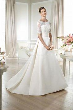Schlichte Spitze Vintage Brautkleider aus Satin mit Appliaktion