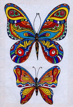 Butterflies. Blended colour pencil. From the That's Life colouring book