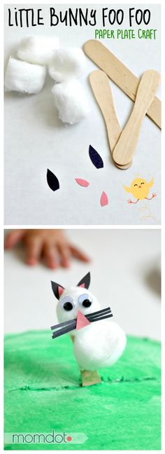 Paper plate craft: Little Bunny Foo Foo stick puppet walks across his paper plate forest Paper Plate Crafts For Kids, Easter Crafts, Easter Ideas, Easter Activities, Preschool Crafts, Kid Crafts, Spring Crafts, Holiday Crafts, Little Bunny Foo Foo