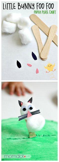 Paper plate craft: Little Bunny Foo Foo stick puppet, walks across his paper plate forest