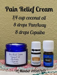 pain relief: Pain relief cream using only PanAway and Copaiba e...