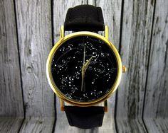 Vintage Constellation Watch Leather Watch Ladies by RedJuanShop
