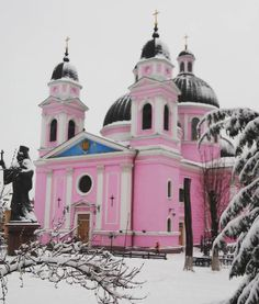 A pink church! Chernivtsi, Ukraine in winter. I hope I can visit! #PeaceCorps #Ukraine