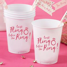 Headed to the pool or beach for the bachelorette party? Pour cocktails in Last Fling Before the Ring plastic cups for a lovely portable drink!