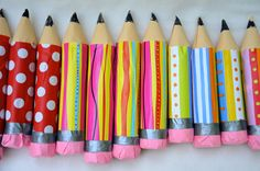 "Cardboard Pencils - Fill with new pencils, pens, erasers, etc. for a ""new school year"" treat."