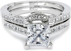 Tacori Contoured Channel-Set Princess Cut Diamond Band  : Diamond contoured wedding band from the Contemporary Crescent Silhouette Collection, pictured with pave and channel-set diamonds.  Being this is a fitted band, Tacori actually requires to have your engagement ring so that they can make this band to perfectly fit your ring. This contoured Band is also available as a straight band (item #T 2576B1)
