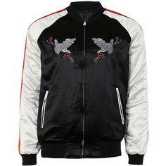 TOPMAN Black Embroidered Eagle Reversible Souvenir Jacket (€80) ❤ liked on Polyvore featuring men's fashion, men's clothing, men's outerwear, men's jackets, black, mens reversible jacket, american eagle mens jackets, mens bomber jacket and mens zip up jackets