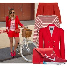 """Street Style: Relaxed in Red"" by streetstylefiles on Polyvore"