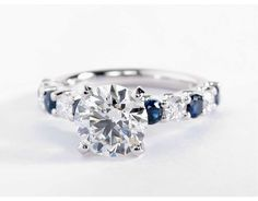 2.09 Carat Diamond in the Luna Sapphire and Diamond Engagement Ring   Blue Nile