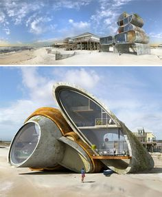 Surrealist Disaster Proof homes - Dionisio Gonzales designer Box Architecture, Futuristic Architecture, Amazing Architecture, Concrete Building, Building Art, Dome House, Unusual Homes, Eco Friendly House, Cool Rooms