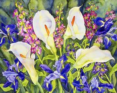 Fine art giclee print from watercolor painting by Erin Williams, Calla Lilies and Dutch Irises - 11 x 14 via Etsy