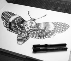 Magic Moth marker drawing by Sneaky Studios
