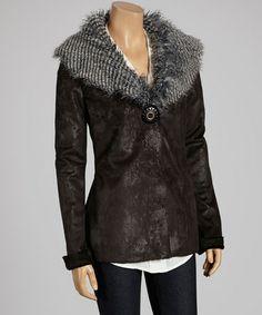 Loving this Black & Gray Faux Fur Collar Jacket - Women on #zulily! #zulilyfinds