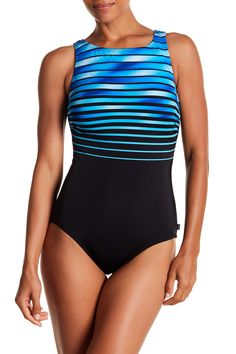 2c1998ba1f2ce Image of Reebok Sky Stripe High Neck One-Piece Swimsuit - Extended Sizes  Available Navy