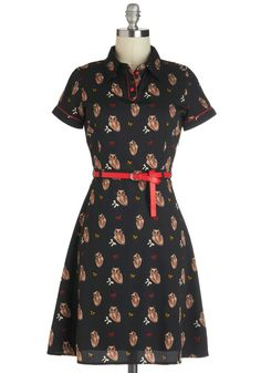 Owl in Good Time Dress by Yumi - Black, Red, Print with Animals, Casual, Shirt Dress, Short Sleeves, Belted, Mid-length, Owls, Collared, Tan / Cream