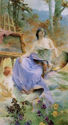 """Paul François Quinsac (French, 1858-1932), """"La Peinture"""", 1896♥"""