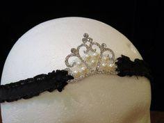 Black Ruffle Elastic Headband With Princess by FourHeartsDesigns