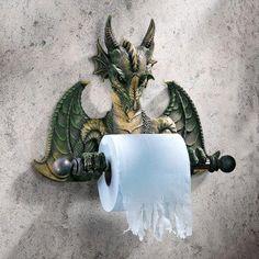Un distributeur de papier toilette en forme de dragon, idéal pour les WC de geek.