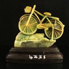 Superb Chinese Natural Shoushan Stone Statue - Bike