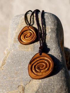 Spiral necklace Wooden spiral symbol Wooden Jewelry Carved
