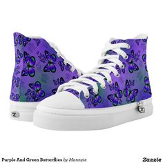 Purple And Green Butterflies Printed Shoes