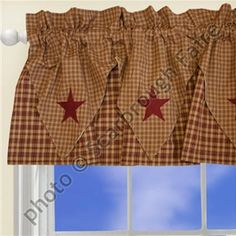 Barn Star Layered Window Valance Primitive Curtain Black | Scarbrough Faire