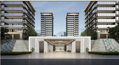 Main Gate Design, Entrance Design, Entrance Gates, Grand Entrance, Chinese Architecture, Residential Architecture, Modern Architecture, Modern Hospital, Environmental Design