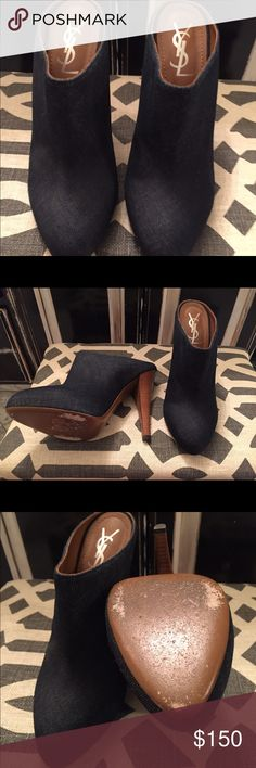 Yves Saint Laurent Denim Mules with Wood Heel Yves Saint Laurent Denim Mule with Wood Heel. Do not have Original box but do have Original Dust bag. They have been worn several times, however, are in good condition. Yves Saint Laurent Shoes Mules & Clogs