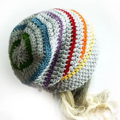 Slouchy Beanie Crochet Slouch Hat Gray Rainbow Mens Womens Teen Gay pride LGBT Grey Fall autumn winter accesories