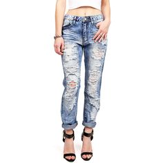 Pink Ice Destroyed Girlfriend Jeans ($40) ❤ liked on Polyvore featuring jeans, bottoms, pants, denim, relaxed fit jeans, faded jeans, blue ripped jeans, mid-rise jeans and zipper jeans