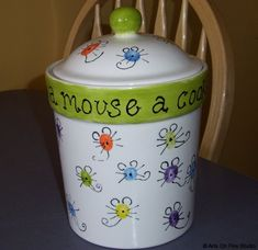 If You Give A Mouse a Cookie...it's a cookie jar with mouse thumbprints!  Created at Arts On Fire in Colorado