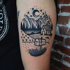 Linework house, Mountains, Landscape tattoo by Christian Lanouette