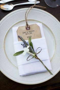 coffee-antiqued menu cards were folded into the napkins with a lavender and Stephanotis floral cluster tied with twine. Wedding Napkins, Wedding Table, Wedding Reception, Wedding Invitations, Wedding Napkin Folding, Wedding Backyard, Free Wedding, Our Wedding, Wedding Decorations