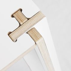 "New Dutch design brand Fraaiheid (Dutch for ""beauty"") takes a single sheet of laminated plywood and turns it into a sustainably produced table with cross-shaped joints. Using a CNC milling machine,. Plywood Furniture, Cool Furniture, Furniture Design, Furniture Movers, Office Furniture, Furniture Removal, Furniture Layout, Furniture Stores, Furniture Plans"