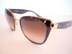 Dolce and Gabbana Sunglasses DG 2107 Brown Gold 02/13 Authentic  #DolceAndGabbana #Designer