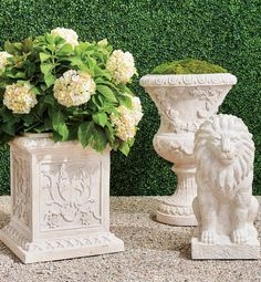 Inspired by the romantic grandeur of historical Provencal gardens, our eye-catching, all-weather planters feature gorgeously detailed designs including botanical motifs, ribbon laurels and artfully molded rims. The sturdy pulverized stone and polyresin construction ensures it will be a staple for showcasing flowers, grasses and topiaries for years to come. Boxwood Topiary, Topiaries, Trough Planters, Garden Planters, Red Poppies, Red Flowers, Grand Entrance, Grasses, Planter Boxes