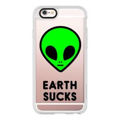 Cute Neon Green UFO Space Alien Face Earth Sucks Drawing - iPhone 6s... ($40) ❤ liked on Polyvore featuring accessories, tech accessories, iphone case, iphone cover case, iphone cases, iphone hard case, apple iphone cases and clear iphone cases