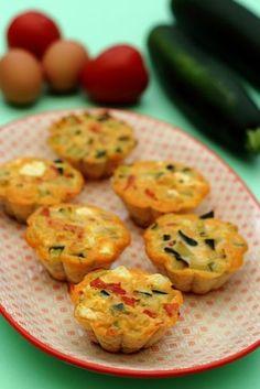 Flans à la courgette, tomates et fêta