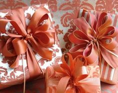 Burnt orange and elegant gift wrapping using sophisticated coloring - Carolyne Roehm #giftwrap by marjorie