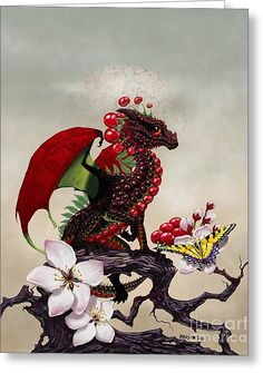 Cherry Dragon Greeting Card by Stanley Morrison