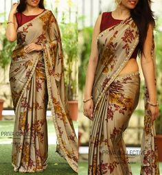 PV 3527 : Brown FloralPrice : Rs fancy and fantastic in this brown coloured floral sari finished with cut work pearl borderUnstitched blouse piece - Wine colour raw silk blouse piece as shown in the pictureFor Order 15 October 2017 A Road MLA Colony Simple Sarees, Trendy Sarees, Stylish Sarees, Fancy Sarees, Satin Saree, Soft Silk Sarees, Chiffon Saree, Saree Floral, Blouse Designs Silk