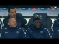 Zlatan Ibrahimovic pranks a teammate when he got bored on the PSG bench