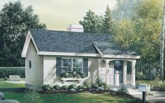 House Plan 5633-00046 - This compact Cabin/Cottage House Plan features a traditional exterior with a front covered porch and rear patio. The interior is comprised of approximately 576 square feet of living space with an open floor plan, one bedroom and one bath.