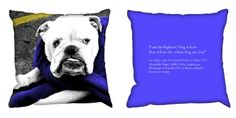 Bulldog Cushion  - A photo print cushion of a Barbara Chandler Love London photograph of a white bulldog wrapped in a blue jumper, with a text quote on the blue reverse.