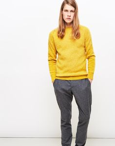New In | YMC - Suedehead Brushed Knit Jumper in Yellow | Shop all men's knitwear at The Idle Man